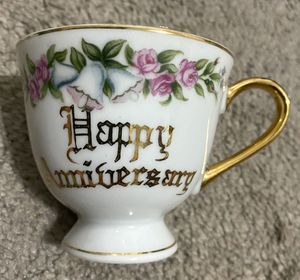 Vintage Norcrest Fine China Happy Anniversary Tea Coffee Cup Gold Accents Porcelain Made In Japan for Sale in Chapel Hill, NC