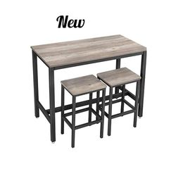 Bar Table Set, Bar Table with 2 Bar Stools, Breakfast Bar Table and Stool Set, Kitchen Counter with Bar Chairs, Industrial for Kitchen, Living Room, for Sale in Rancho Cucamonga,  CA