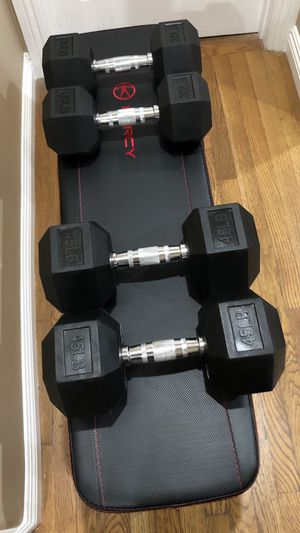 Marcy Flat Bench and pairs of 45lbs, 30lbs dumbbells for Sale in San Gabriel, CA