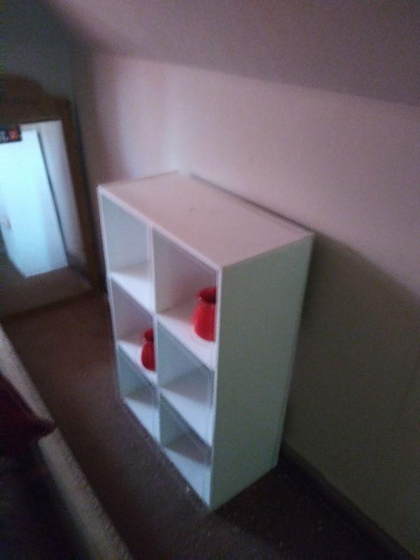 Small white book shelf