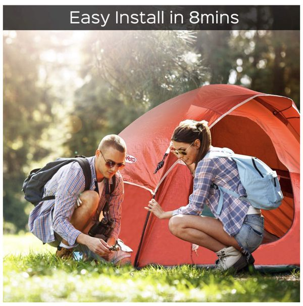 3 Person Tent - Easy & Quick Setup Tent for Camping, Professional Waterproof & Windproof Fabric, 3 Large Mesh for Ventilation, Anti-UV, Double Layer,