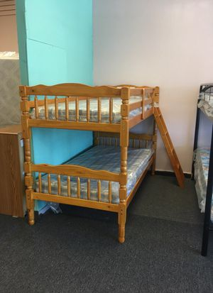 Oak Twin over twin bunk bed with mattress for Sale in Nashville, TN