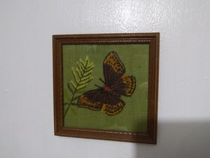 VINTAGE FRAMED BUTTERFLY CREWEL for Sale in Chicago, IL