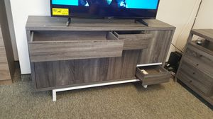 Moonsight Wine Cabinet/Buffet/ TV Stand up to 70in TVs, Distressed Grey & Glossy White for Sale in Santa Ana, CA