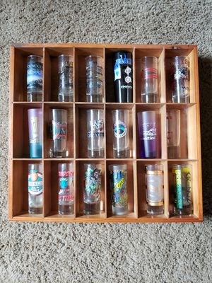 Shot glass collection with shelves for Sale in PA, US