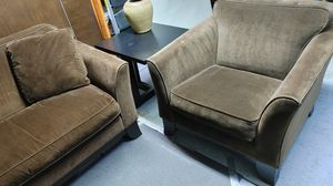 Pottery Barn Espresso Brown Couch / Sofa + Chair - Excellent Condition for Sale in Irvine, CA