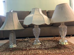 3 glass lamps with shades for Sale in Nashville, TN