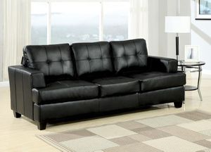 New Black Bonded Leather Sofa Sleeper Couch w/ Queen Mattress for Sale in Hemet, CA