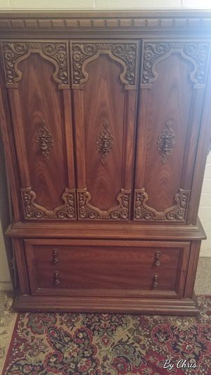 Bedroom set: Armour, two night stands, dressor with 2-mirrors... Dressor and night stands have glass tops which you will not find in furniture stores. for Sale in Phoenix, AZ