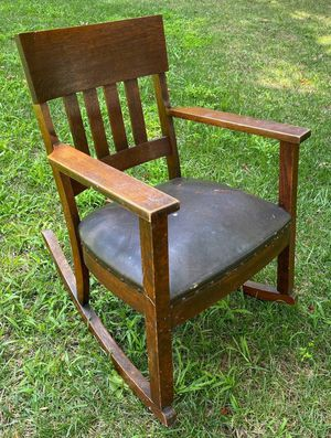 Vintage Antique Mission Craftsman Oak Wood Rocker Rocking Chair Patio Deck Porch Cabin Shed Farmhouse Country Furniture for Sale in Chapel Hill, NC