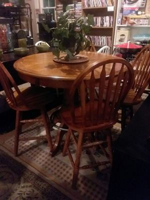 High pub table with 4 swivel barstools for Sale in Cumberland, VA