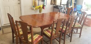 Antique Drop Leaf Table with 3 Leaves and 6 Re-Covered Antique Chairs for Sale in Austin, TX