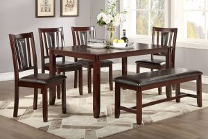 WOODEN CASUAL DINING TABLE WITH CHAIRS AND BENCH for Sale in Pomona, CA