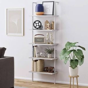 Nathan James 65504 Theo 5-Shelf Wood Ladder Bookcase with Metal Frame, Gray Oak/White for Sale in Phoenix, AZ