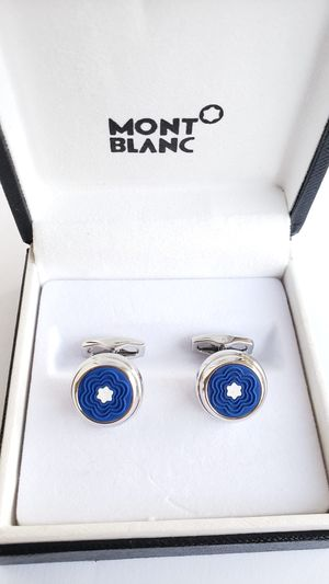 New Montblanc Silver Coated Blue Rubber Cufflinks for Sale in Los Angeles, CA