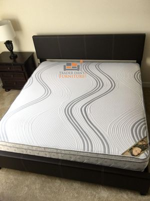 Brand New King Size Leather Platform Bed Frame + Pillowtop Mattress for Sale in Kensington, MD
