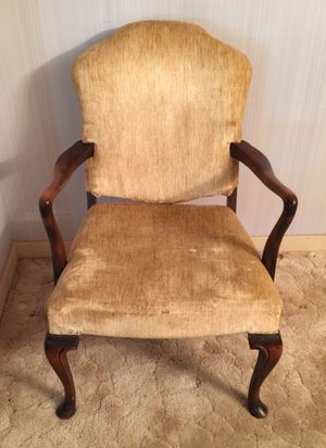 Vintage antique style wood and yellow fabric armchair for Sale in Ada, OK