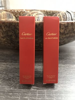(2) Cartier La Panthere Eau De Toilette gift set Each bottle is 15ml 0.5FL OZ Valentines Day Special!!!!! A Total of 30 ml at a great price Authentic for Sale in Carol City, FL