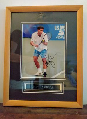 PETE SAMPRAS Tennis AUTOGRAPHED FRAMED AUTHENTIC PICTURE WITH NAME PLAQUE for Sale in Palm Beach Shores, FL