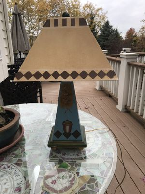 Hand Painted Wood and Metal Topiary Lamp for Sale in Wheaton, IL