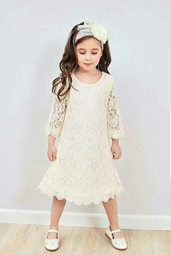 APRIL GIRL Flower Girl Dress, Lace Dress 3/4 Sleeve Dress (Ivory) (5 Years)