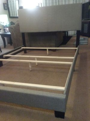 Upholstered queen bed frame/ headboard for Sale in Stockton, CA