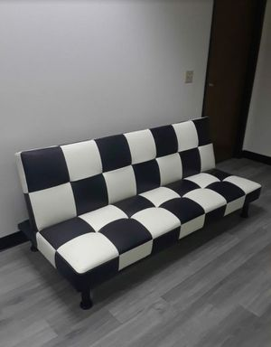 Brand New Black & White Leather Checkered Leather Tufted Futon for Sale in Puyallup, WA