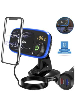 Brand new Quick Charge 3.0 Car Charger Cell Phone Mount, Dashboard Magnetic Holder Cradle with Bluetooth FM Radio Transmitter Car Kit with Hands Free for Sale in Dallas, TX