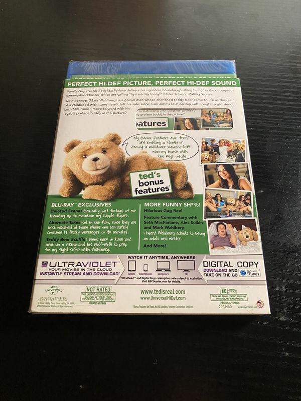 Ted Unrated Blu-Ray, DVD, Digital Copy & Ultraviolet (Brand New Sealed)