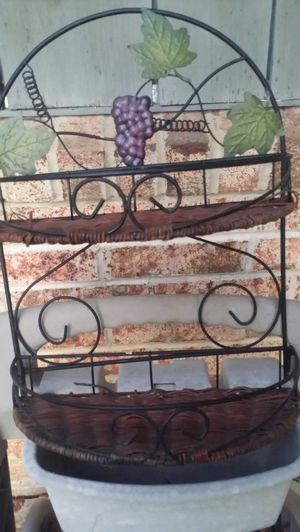 Grape Wire Wall hanging w 2 removable wicker shelves. 11/2 inches wide. 14 1/2 Tall for Sale in Norman, OK