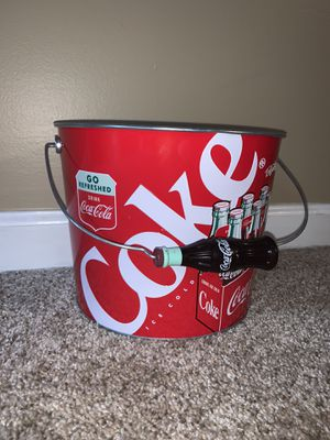 Antique Coca-Cola Tin Bucket with Coca-Cola Bottle Handle for Sale in Norcross, GA