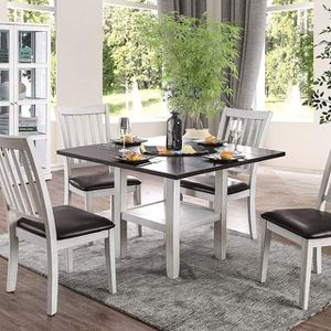 ANTIQUE WHITE ESPRESSO FINISH 5 PIECE DINING TABLE SET OPEN SHELF PEDESTAL BASE for Sale in Ontario, CA