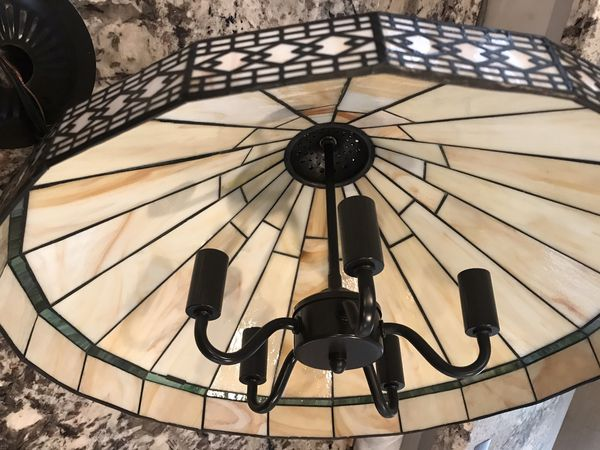 Vintage Tiffany Stained Glass Style Spectrum Chandelier Candelabra Light