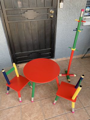 Kids pencil table desk, chairs and coat rack for Sale in El Mirage, AZ