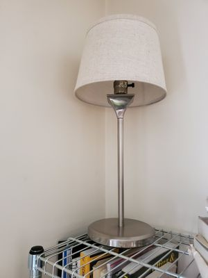 Silver lamp with tan and white woven shade for Sale in New York, NY