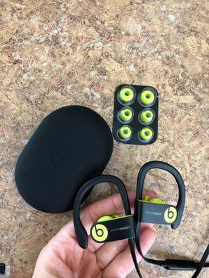 Powerbeats 3 wireless Bluetooth headphones in ear shock yellow works great for Sale in Rosemead, CA