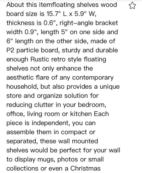Floating Shelves, Wall Mounted Shelf Storage Rack