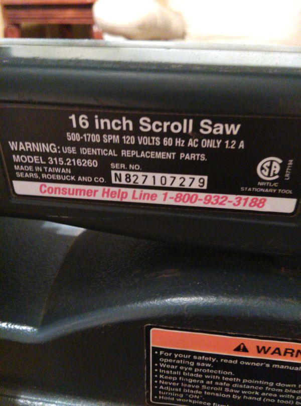 "Craftsman 16 /"" Scroll Saw Manual Model # 315.216260"