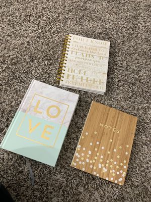 Notebooks, office notebook, gold lobe and notes notebook, bible verse, bible quote for Sale in Tempe, AZ