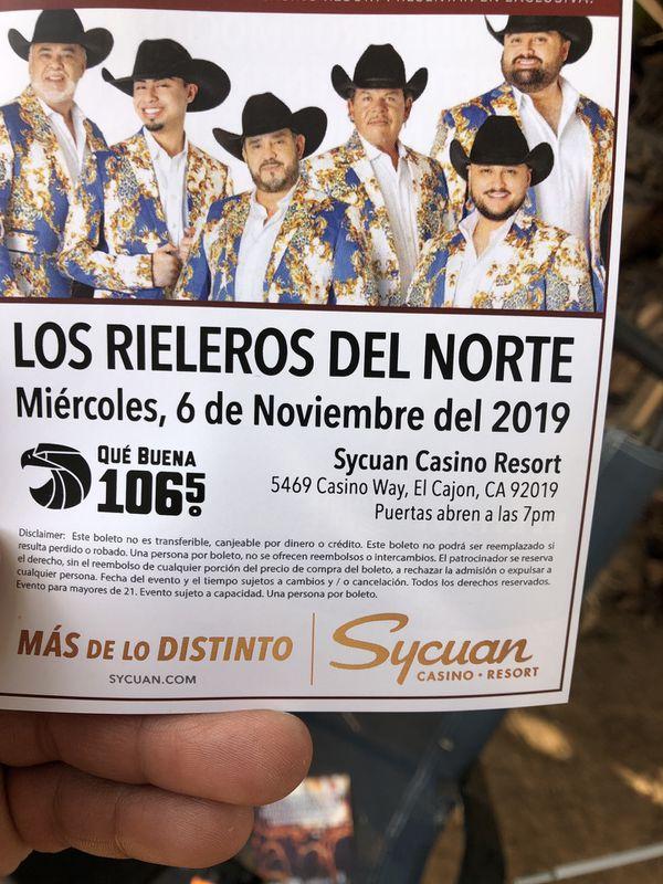 2 bolletos para ir aver los rieleros del Norte noviembre 6 en sycuan casino 30 por los dos