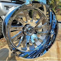 26x12 Chrome HARDCORE Wheels and tires set 35125026 for Sale in Phoenix,  AZ