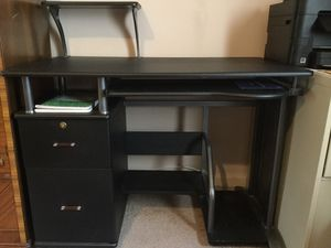Computer desk, black, 2 drawers, pull out keyboard shelf, plus a detachable shelf for Sale in New Hyde Park, NY