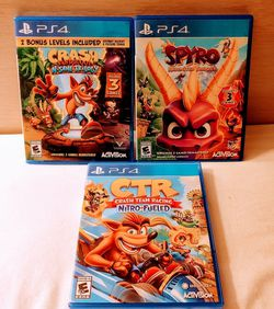 PS4 CRASH TRILOGY/CRASH TEAM RACING/AND SPYRO TRILOGY 20$ EACH OR TAKE ALL 3 FOR 45$ FIRM for Sale in Escondido,  CA