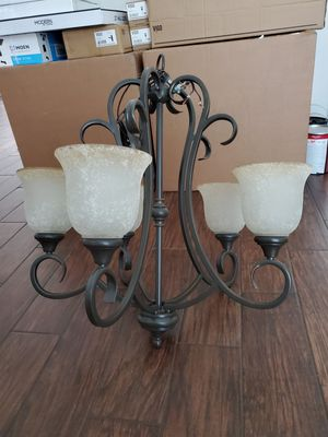 Oil Rubbed Bronze 5 Bulb Chandelier with Frosted Bulb Covers for Sale in Houston, TX
