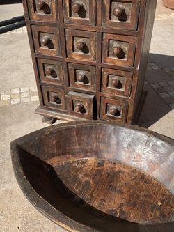 Wooden Antique Medicine Cabinet + Decorative Bowl - Pottery Barn for Sale in Pleasanton,  CA