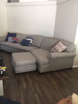 Sofa with foot stool 12 1/2 ft long. Cloth. Good condition for Sale in Gilbert, AZ