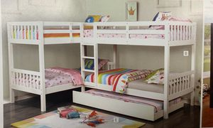 Your choice gray or white quadruple bunkbeds! Four-man 699, With trundle 799! Free delivery for Sale in Tempe, AZ
