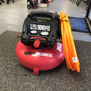 Central Pneumatic 95275 3 Gallon 1/3 HP Pancake Air Compressor With Orange Hose 90450-1 for Sale in Tampa, FL