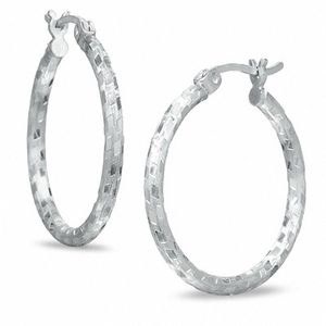 Sterling Silver Diamond-Cut Patch Hoop Earrings for Sale in Tacoma, WA