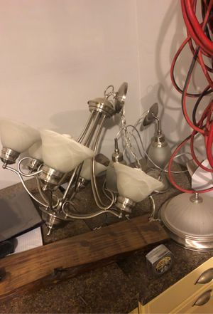 Chandelier and two matching hanging lights for Sale in Sumner, WA